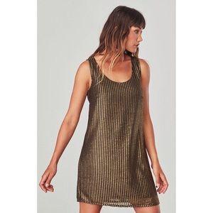 NWT Jack BB Dakota Mesh Gold Black Shift Dress